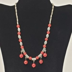 Silver and Cranberry Red Beaded Necklace